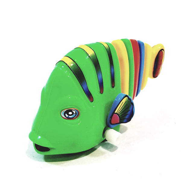 Happy Fish Multi Color Wiggle Tail Wind Up Rolling Green Fish