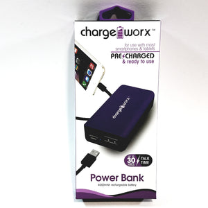 Charge Worx Portable Power Bank 4000mAH With USB Rechargeable Battery Pack Purple