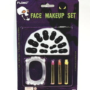 FLOMO Vampire Makeup Set With Color Sticks Fake Teetch & Black Finger Nails Parties Or Halloween Non Toxic Safe