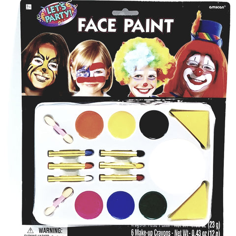 FLOMO Face Paint 16 Piece Makeup Set With Bold Color Sticks Parties Or Halloween Non Toxic Safe