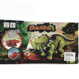 "Prehistoric Dinosaurs Triceratops Battery Operated Walking Roaring 15"" Length Lights & Sound Plastic Figure"