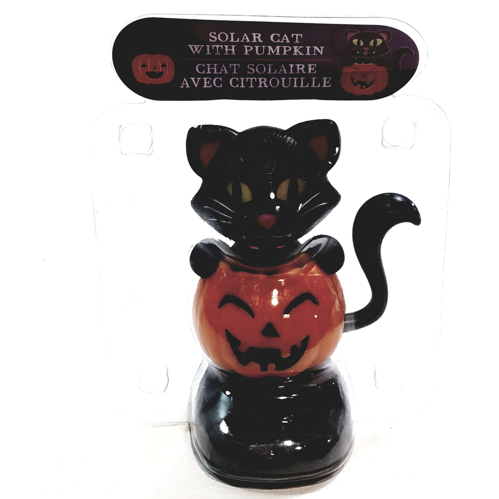 Solar Halloween Dancer Black Cat On Pumpkin Solar/Light Activated Cat Moving Eyes