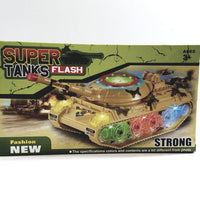 Everbright Super Flash Tanks Battery Operated Lights & Sounds Spinning Bump & Go Camouflage Military Vehicle