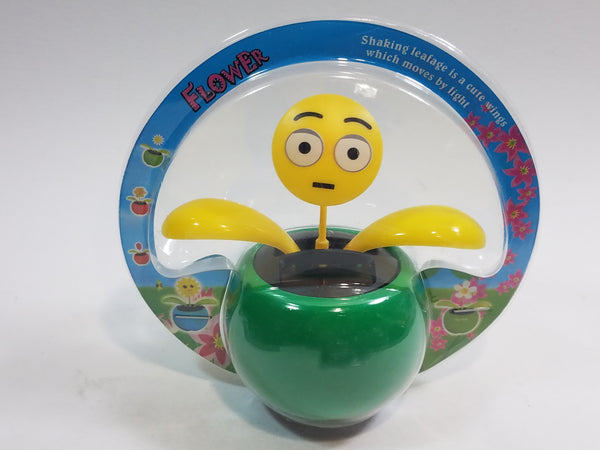Green EMOJI Suprise Face Solar/Light Activated Flower Pot