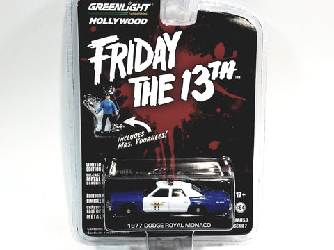 Greenlight Friday The 13 1977 Dodge Royal Monaco Police Squad Hollywood (8)1/64 Diecast Car With Figure