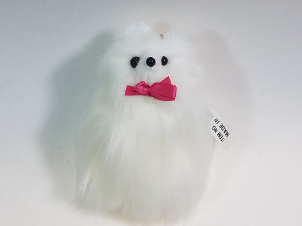 "German White Pom Pom 4.75"" Mini Furry Keychain Pink Bow Tie Pomeranian Dog"