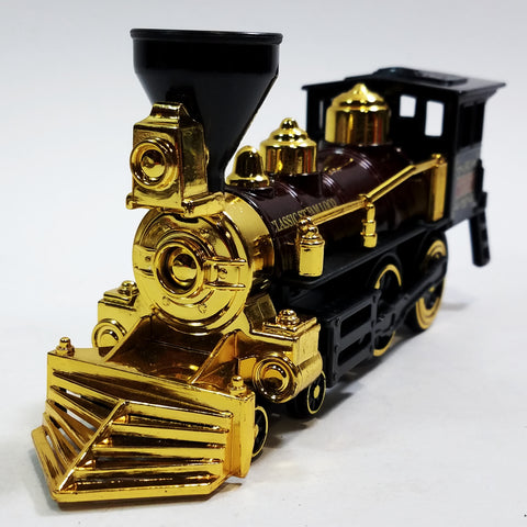 "Classsic Black Brown & Gold Retro Steam Engine Locomotive 7"" Diecast Train"