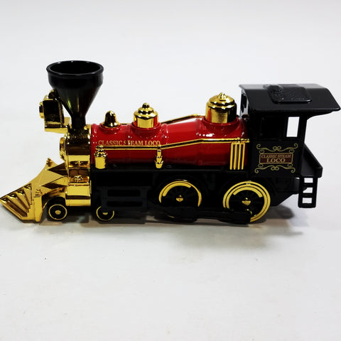 "Classsic Black Red & Gold Retro Steam Engine Locomotive 7"" Diecast Train"