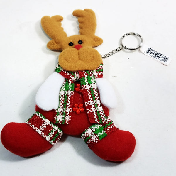 "Reindeer Red Green & White Festive 7"" Tall Felt Christmas Keychain/Ornament"