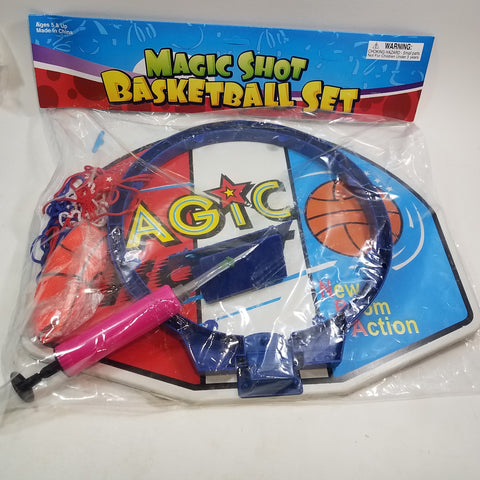 "Magic Shot Basketball Set 16"" Backboard Red White & Blue Net (1) 3.5"" Soft Rubber Basketball & Pump"