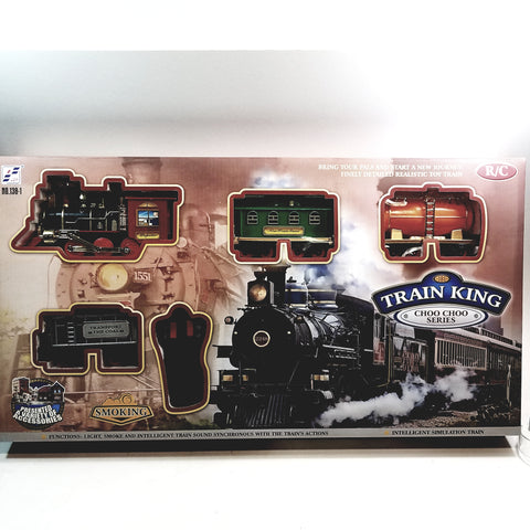 "Train King CHOO CHOO Series (1) Locomotive (3) Car Light-Sound & Real Smoke R/C 30"" X 40"" Train Set"