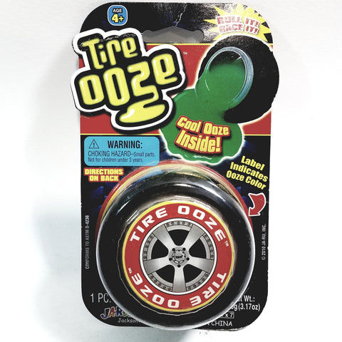 Tire OOZE With Wheel Shaped Container With Red Slime Inside 3.17 oz Of Goop