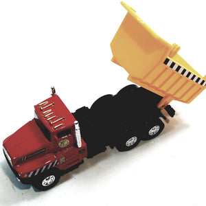 "Red & Yellow International Large Dump Truck 5"" Scale Commercial Construction Diecast"