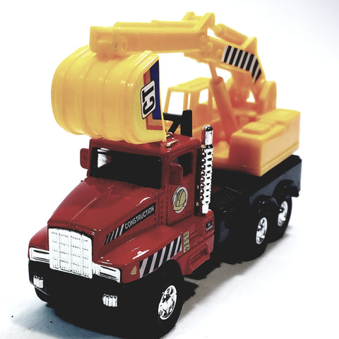 "Red & Yellow International Power Shovel Truck 5"" Scale Commercial Construction Diecast"