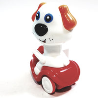 Happy Moto White Puppy Dog On Red Scooter Head Articulation Push Down Motorized Spring Action Toddler/Baby Toy