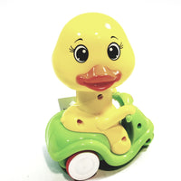 Happy Moto Yellow Baby Duck On Green Scooter Head Articulation Push Down Motorized Spring Action Toddler Toy