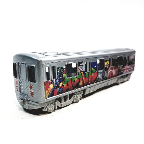 "SF Toys Metro NYC New York City 7"" Train Latinos Tag Graffiti Retro Subway Car 1/100 Scale Diecast"