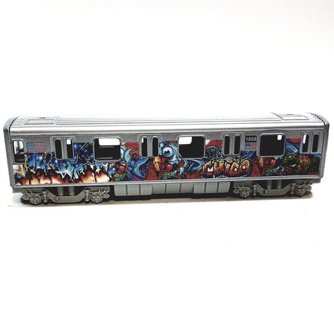 "SF Toys Metro NYC New York City 7"" Train Chico Tag Graffiti Subway Car 1/100 Scale Diecast"