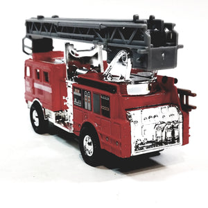 "Modern FD Red & Silver Fire Engine with Extension Ladder 5.25"" Diecast Fire Dept Rescue Truck"