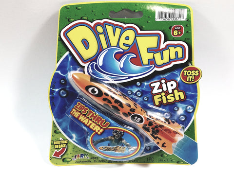 Dive Fun Orange & Black Spotted #18 Zip Fish Water Tossing Pool Toy