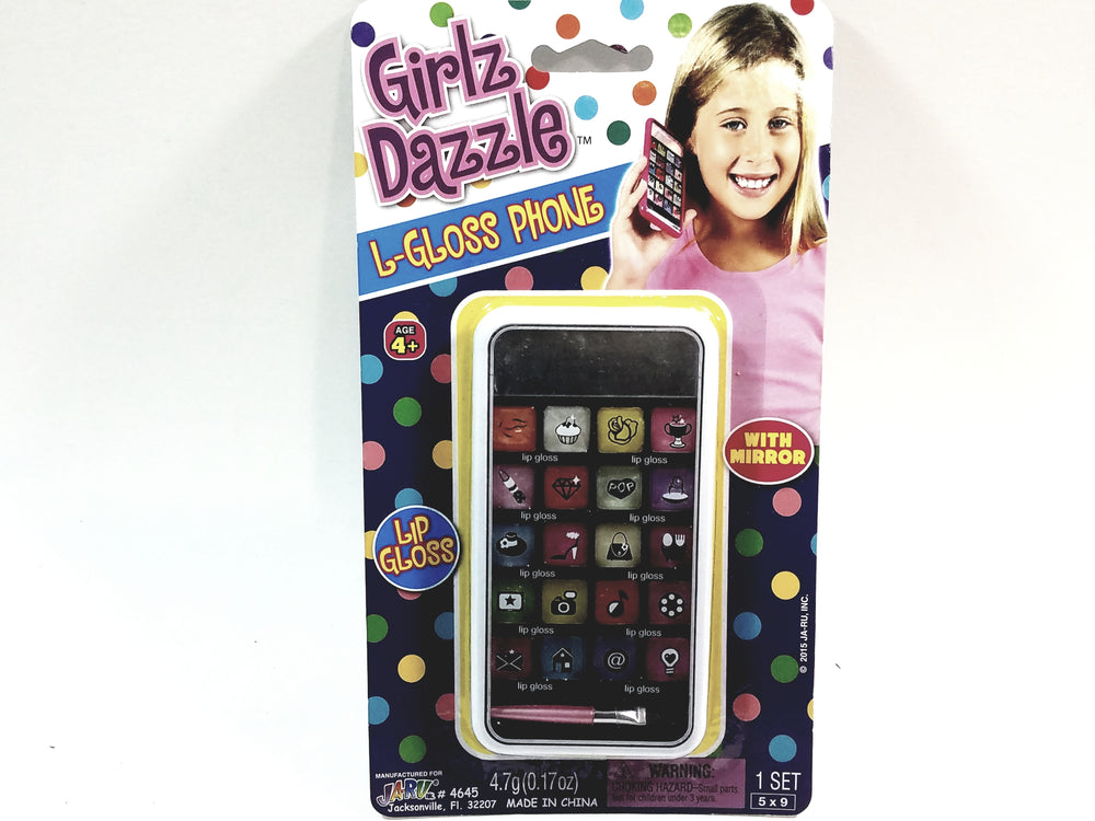Girlz Dazzle White L-Gloss Phone 21 Piece Lip Gloss Set With Mirror In Phone Case