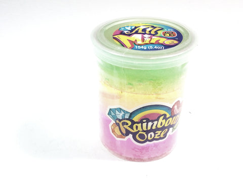 All Mine Tri-Color Lime Green/Yellow/Cotton Candy Pink Glitter Large Slime Ooze Gag 154g In 5.4oz Container Of Goop