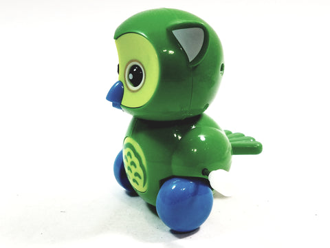 "Cute Cartoon Owl Mini Green Owl Moving 3.5"" Wind Up Plastic Figure Toy"