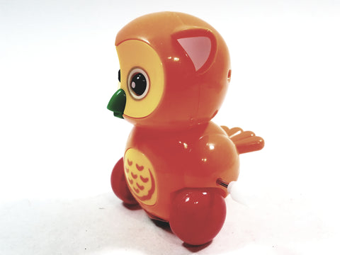 "Cute Cartoon Owl Mini Orange Owl Moving 3.5"" Wind Up Plastic Figure Toy"