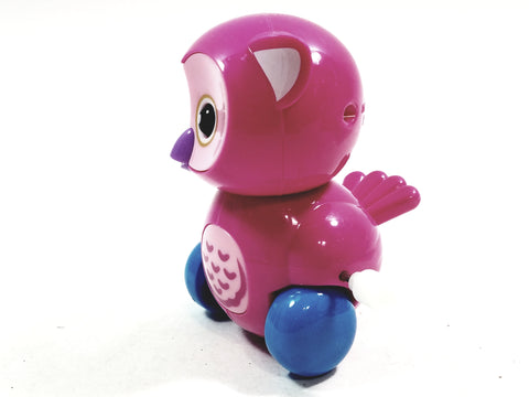 "Cute Cartoon Owl Mini Pink Owl Moving 3.5"" Wind Up Plastic Figure Toy"