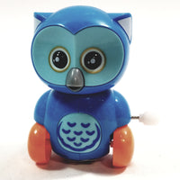 "Cute Cartoon Owl Mini Powder Blue Owl Moving 3.5"" Wind Up Plastic Figure Toy"