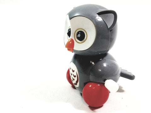 "Cute Cartoon Owl Mini Gray Owl Moving 3.5"" Wind Up Plastic Figure Toy"