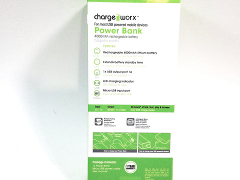 Charge Worx Black Portable Power Bank 4000mAH With USB Rechargeable Battery Pack