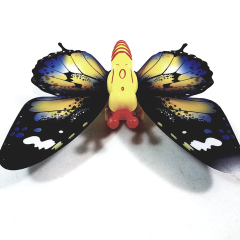 "Cute Insect Black & Yellow Wing Mini Yellow Butterfly Moving 5.15"" Wingspan Wind Up Plastic Figure Toy"