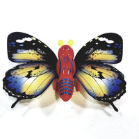"Cute Insect Black & Yellow Wing Mini Red Butterfly Moving 5.15"" Wingspan Wind Up Plastic Figure Toy"
