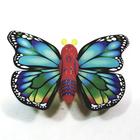 "Cute Insect Blue & Green Wing Mini Red Butterfly Moving 5.15"" Wingspan Wind Up Plastic Figure Toy"