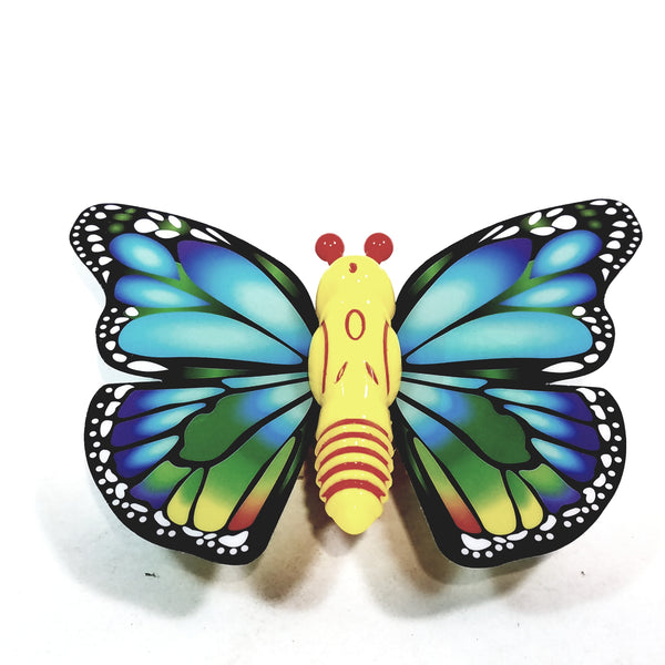 "Cute Insect Blue & Green Wing Mini Yellow Butterfly Moving 5.15"" Wingspan Wind Up Plastic Figure Toy"