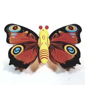 "Cute Insect Orange Wing Mini Yellow Butterfly Moving 5.15"" Wingspan Wind Up Plastic Figure Toy"