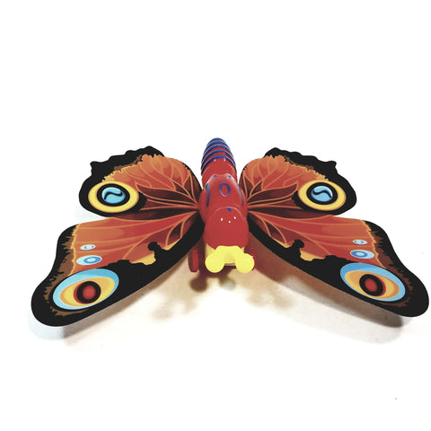 "Cute Insect Orange Wing Mini Red Butterfly Moving 5.15"" Wingspan Wind Up Plastic Figure Toy"