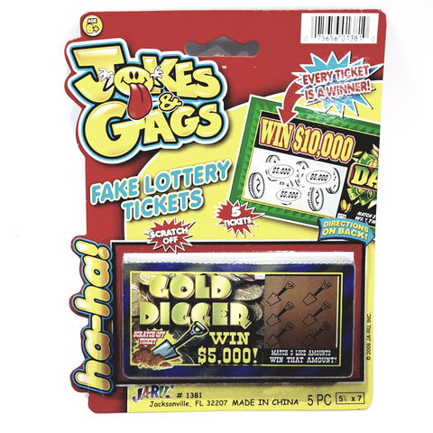Jokes & Gags Gold Digger (5) Fake Lottery Scratch Off Tickets Trick Gag & Joke Toy