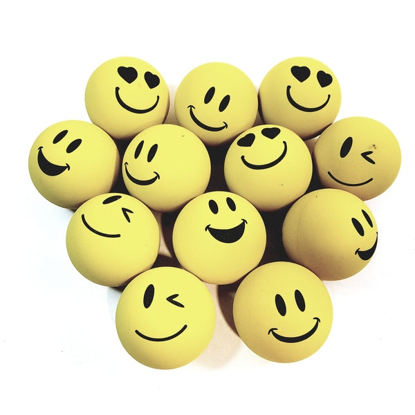 SKY BOUNCE Yellow Emoji Emoticon Handball/Racquetball Set Of 12 (1 Dozen) Racket Ball
