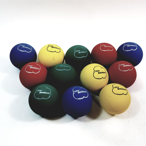 SKY BOUNCE Multi Color Handball/Racquetball Set Of 12 (1 Dozen) Racket Ball (Red/Green/Blue/Yellow)