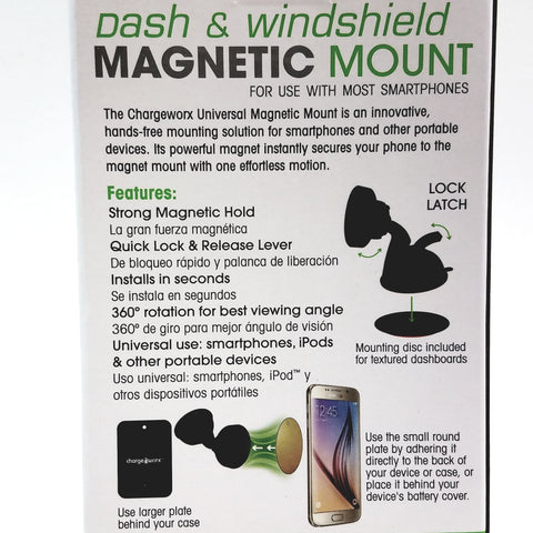 Charge Worx Universal Magnetic Windshield & Dash  Mount Fits Most Smartphones