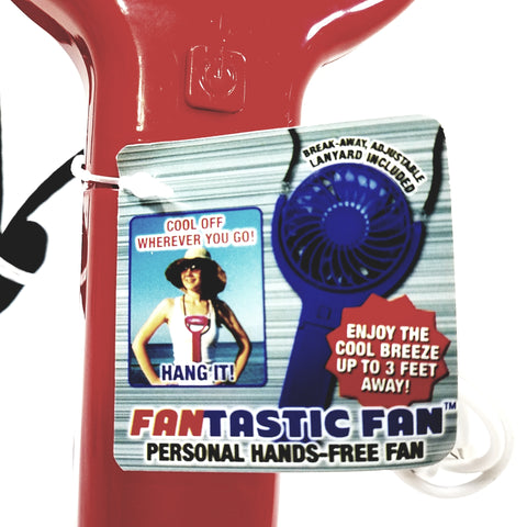Fantastic Fan Red Peronal Handheld Rechargeable Battery Micro USB Fan Lanyard & Micro USB Cord