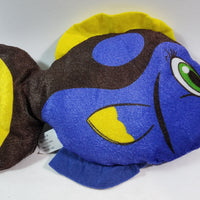 "National Prize Blue Tang 9.5"" Plush With Yellow Tail Cartoon Design Fish"