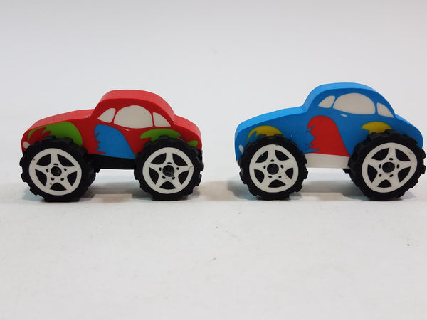 Red & Blue Monster Truck Eraser Set Of 2  School Accessory