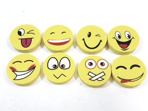 Emoji Yellow Assorted Expressions Eraser Set Of 8 Faces  School Supply