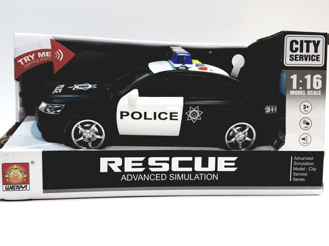 WJ Toys Black & White Police Squad Car Advanced Simulation B/O Lights & Sounds 1/16 Scale Vehicle