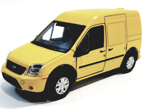 "Welly Canary Yellow Ford Transit Connect Minivan 4.5"" Scale Diecast Commercial Car"