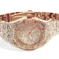 Techno Pave Rose Gold Finish Iced Out Lab Diamond Iced Round Face Mens Watch Metal Iced Band Bling 8651