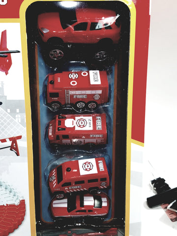 JY Toys City Fire Rescue Flexible,Bendable Railway Tracks & 6 Vehicle 107 Piece Magic Racetrack